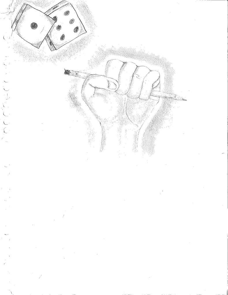Artwork submitted by student from the Latino Outreach Leaders Club. Pencil on paper.
