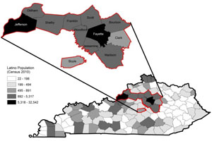A map representing the population density of Latinos in the state of Kentucky