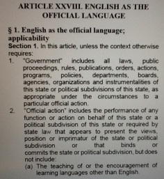 Arizona State Constitution: Article 28. English as the Official Language